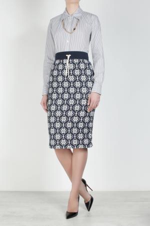 Хлопковая юбка Suno. Цвет: синий, белый