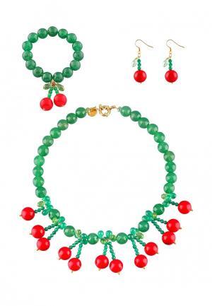 Комплект бусы, серьги и браслет Anna Slavutina. Цвет: зеленый