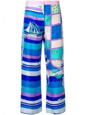 Укороченные брюки с принтом Emilio Pucci. Цвет: розовый и фиолетовый