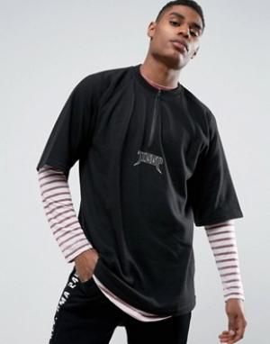 Vision Air Черная oversize-футболка с короткой молнией Visionair. Цвет: черный
