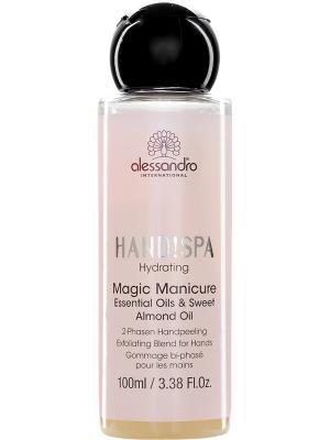 Двухфазный пилинг для рук с эфирными маслами и морской солью Magic Manicure alessandro. Цвет: светло-желтый