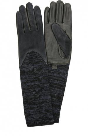 Кожаные перчатки с отделкой из замши и вязаными манжетами Agnelle. Цвет: темно-синий