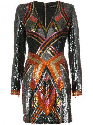 Мини-платье с глубоким вырезом Balmain. Цвет: многоцветный