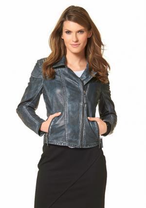 Кожаная куртка Aniston. Цвет: джинсовый