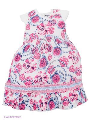 Платье Pampolina. Цвет: белый, темно-синий, фуксия