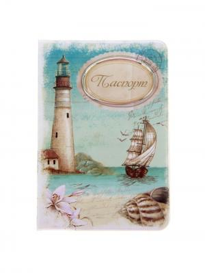 Обложка для паспорта А М Дизайн. Цвет: морская волна, бежевый