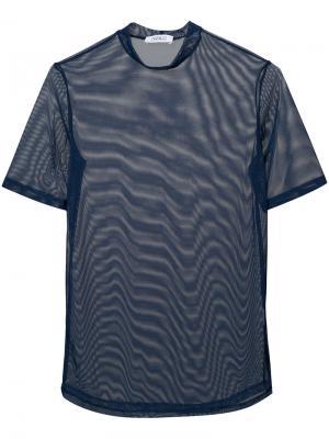 Полупрозрачная блузка с высоким воротом Nomia. Цвет: синий