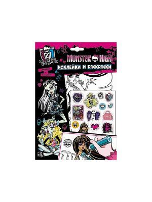 Наклейки и раскраски (розовая) Mattel. Цвет: розовый, белый, черный