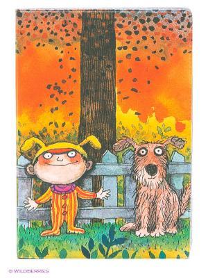 Обложка для автодокументов Мальчик и пес Mitya Veselkov. Цвет: оранжевый