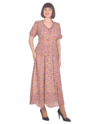 Блузка Томилочка Мода ТМ. Цвет: фиолетовый, желтый