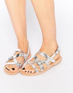 Hudson London Серебристые кожаные сандалии Anita. Цвет: серебряный