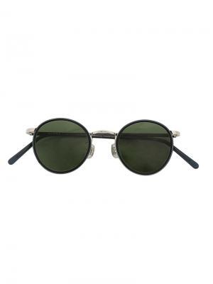 Солнцезащитные очки в круглой оправе Hakusan. Цвет: чёрный