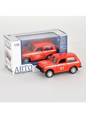 Машинка металлическая инерц. Пожарная охрана 1:50, открываются двери в/к АВТОПАНОРАМА. Цвет: красный, белый, черный