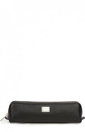 Кожаный пенал на молнии Dolce & Gabbana. Цвет: черный