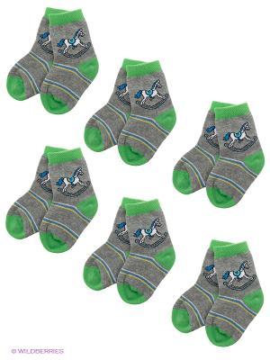 Носки, 6 пар. Nirey. Цвет: серый, зеленый