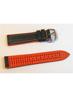 Ремень для часов, гл.кожа, каучук. подложка, черный с оранжевым, 20 х 18 мм J.A. Willson. Цвет: черный