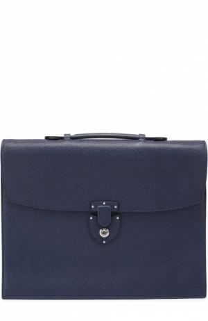 Портфель из зерненой кожи с внутренним отделением на молнии Bertoni. Цвет: темно-синий