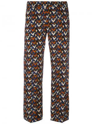 Укороченные брюки с геометрическим рисунком Aspesi. Цвет: чёрный