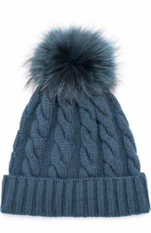 Кашемировая шапка фактурной вязки с меховым помпоном Kashja` Cashmere. Цвет: темно-зеленый