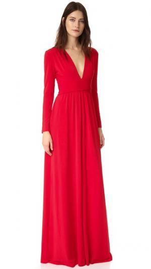 Вечернее платье с V-образным вырезом Halston Heritage. Цвет: оранжевый