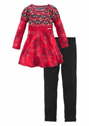 Комплект: платье + легинсы KIDOKI. Цвет: красный+черный