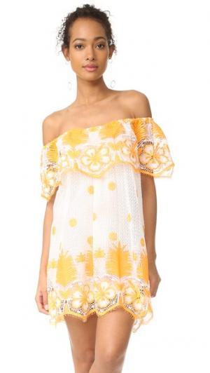 Анжелика платье с открытыми плечами Miguelina. Цвет: белый/манго