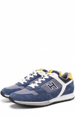 Комбинированные кроссовки с контрастной отделкой Hogan. Цвет: синий