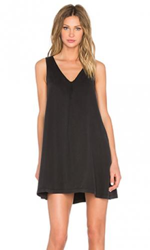 Платье-футболка с v-образным вырезом Michael Stars. Цвет: черный