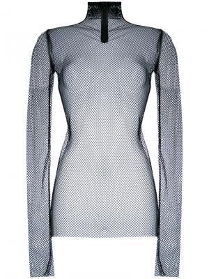 Сетчатый свитер с отворотной горловиной Nude. Цвет: чёрный