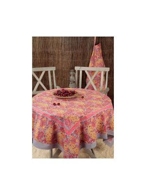 Скатерть Bougainvilliers grey-red /Бугенвиллия серый-красный/ 150*150см, 100% хлопок Mas d'Ousvan. Цвет: красный, желтый, серый