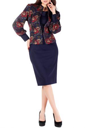 Жакет с платьем Mannon. Цвет: сине-бордовый