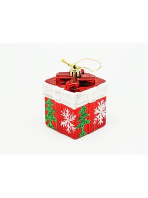 Украшение подвесное из пластика подарок красный с елочкой, 4 шт арт.16011  (ДШВ 0,06Х0,2Х0,05 м.) Яркий Праздник. Цвет: красный