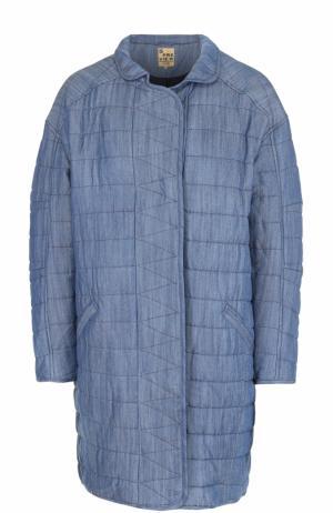 Стеганое джинсовое пальто свободного кроя 5PREVIEW. Цвет: синий