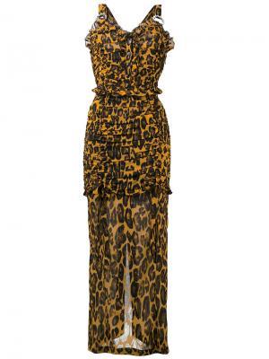 Платье с леопардовым принтом Alessandra Rich. Цвет: коричневый