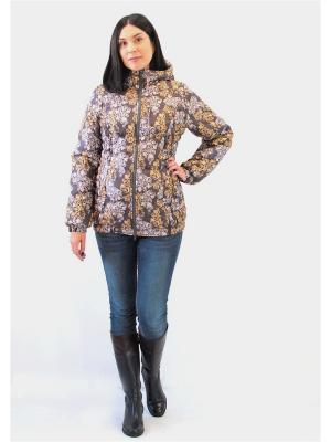 Куртка Адель. Цвет: темно-коричневый, золотистый, молочный