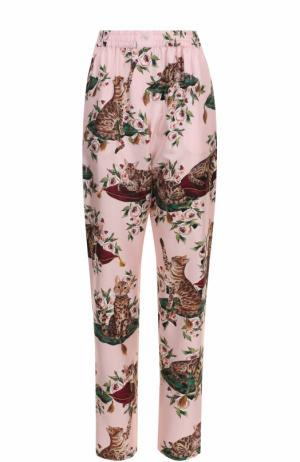 Шелковые брюки в пижамном стиле с принтом Dolce & Gabbana. Цвет: разноцветный