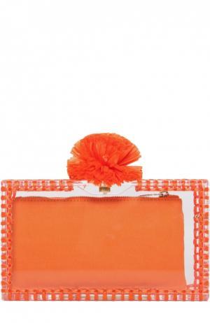 Клатч Pom Pandora с отделкой из рафии Charlotte Olympia. Цвет: оранжевый
