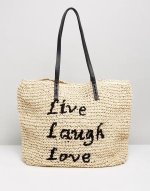 Vincent Pradier Пляжная соломенная сумка с надписью Live Laugh Love. Цвет: темно-синий
