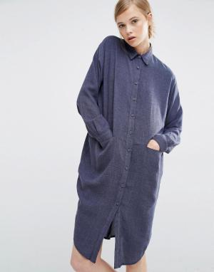 Paisie Платье-рубашка с карманами по бокам. Цвет: серый