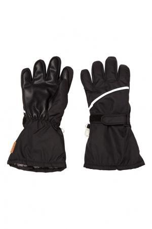 Черные перчатки с контрастной полоской Reima. Цвет: черный