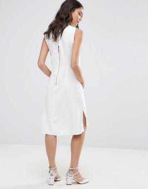 Closet London Платье-туника без рукавов с воротником. Цвет: белый