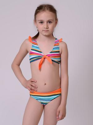 Бикини EMDI. Цвет: оранжевый, белый, голубой