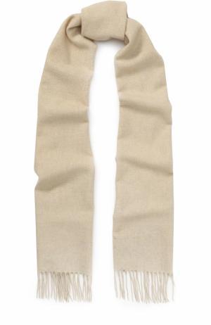 Вязаный шарф из кашемира с бахромой Johnstons Of Elgin. Цвет: кремовый