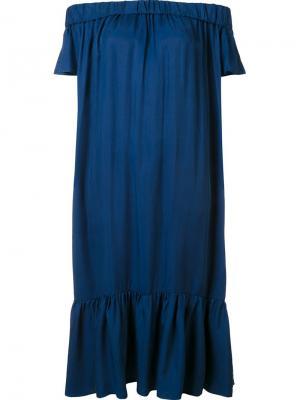 Платье шифт с открытыми плечами Sea. Цвет: синий