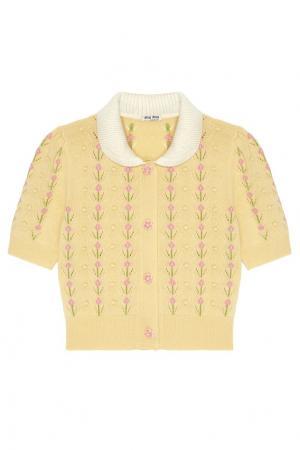 Кашемировый кардиган Miu. Цвет: желтый