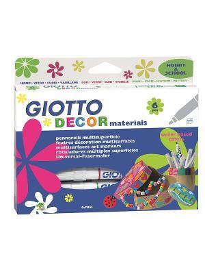 GIOTTO DECOR MATERIALS 6 цв. Фломастеры для декорирования. FILA. Цвет: синий, белый, красный