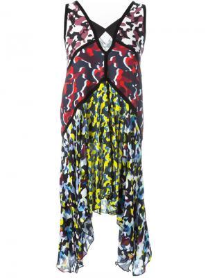 Платье асимметричного кроя с пятнистым принтом Nafsika Skourti. Цвет: чёрный