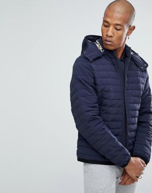 Aquascutum Темно-синяя дутая куртка с капюшоном Emmett. Цвет: темно-синий