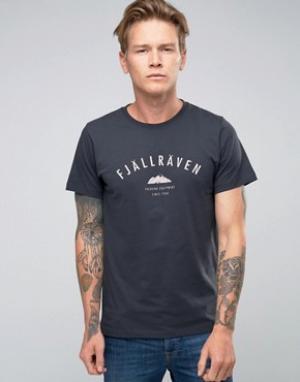 Fjallraven Темно-синяя футболка с принтом. Цвет: темно-синий