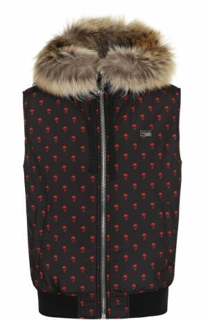 Утепленный жилет на молнии с меховой отделкой капюшона Philipp Plein. Цвет: черный